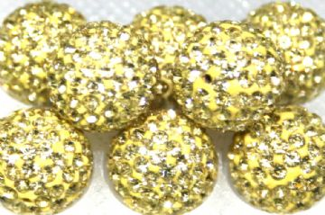 12mm Lemon 130 Stone  Pave Crystal Beads - Half Drilled  PCBHD12-130-022